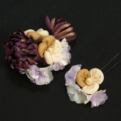 髪飾り 成人式 振袖 七五三着物 卒業袴 ドレスにも使えます 2個タイプ 紫、白色万寿菊 コーム・ピンタイプ 2点セット 日本製