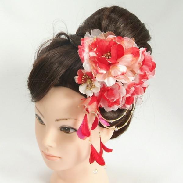 髪飾り 成人式 振袖 七五三着物 卒業袴 ドレスにも使えます 1個タイプ 赤 コームタイプ ラメ仕様 日本製