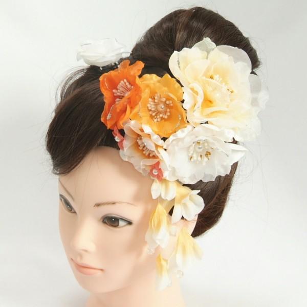 髪飾り 成人式 振袖 七五三着物 卒業袴 ドレスにも使えます 2個タイプ オレンジ イエロー 牡丹華 コーム・ピンタイプ
