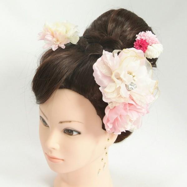 髪飾り 成人式 振袖 七五三着物 卒業袴 ドレスにも使えます 3点タイプ ピンク 牡丹華 コーム・ピンタイプ
