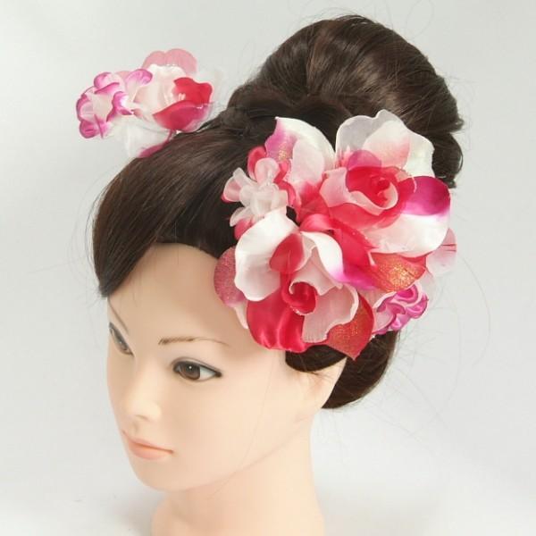 髪飾り 成人式 振袖 七五三着物 卒業袴 ドレスにも使えます 2個タイプ レッド ピンク ホワイト コーム・ピンタイプ 日本製