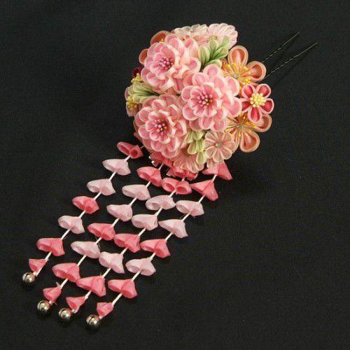 髪飾り 成人式 振袖 卒業袴 七五三 小菊 ピンク つまみかんざしピンタイプ 日本製