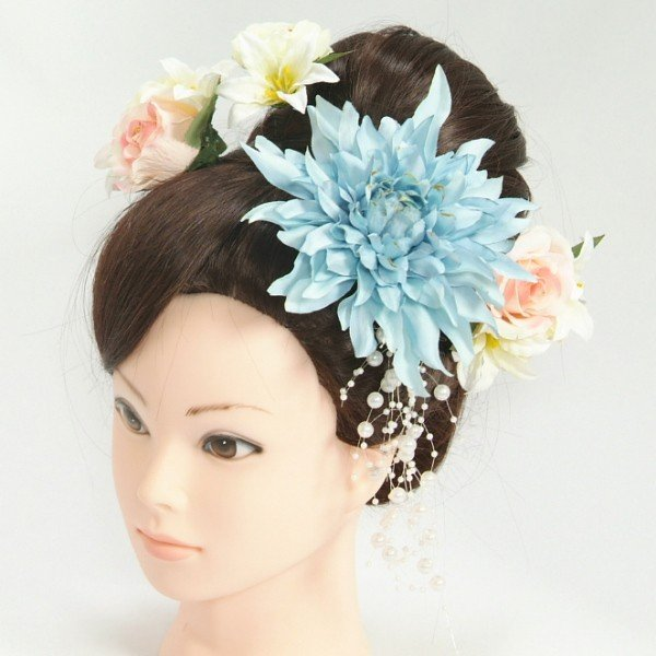 髪飾り 成人式 振袖 卒業袴 七五三 水色 白 ピンク コーム・ピンタイプ 5点セット 日本製