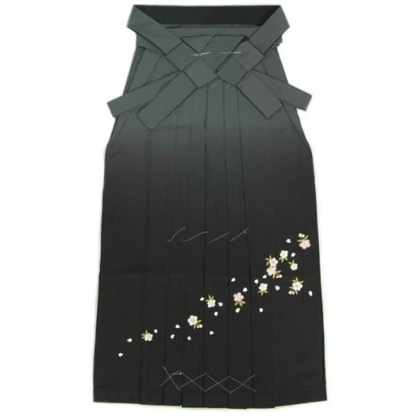 卒業袴 卒業式 グレー 濃淡ぼかし 桜刺繍 へら付き 特価品 S、M、L、LL、3L