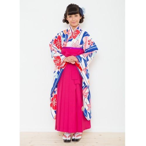 小学生 卒業袴着物4点セット 花ひめブランド ジュニアサイズ 青 矢絣 濃ピンク刺繍袴 赤黄色両面帯 十三参りとしても御使用出来ます