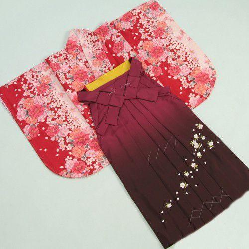 卒業袴着物フルセット HLブランド 卒業式 赤×ピンク 桜 桜刺繍濃淡ボカシ袴 レンタルよりお値打ちな13点セット
