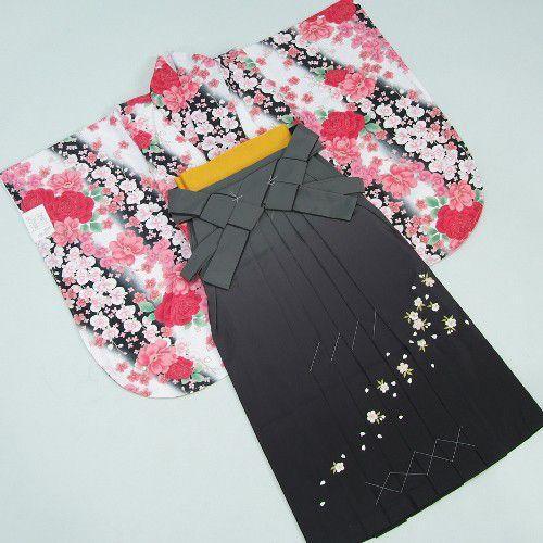 卒業袴着物フルセット 卒業式 白地黒グラデーション 桜刺繍濃淡ボカシ袴 レンタルよりお値打ちな13点セット