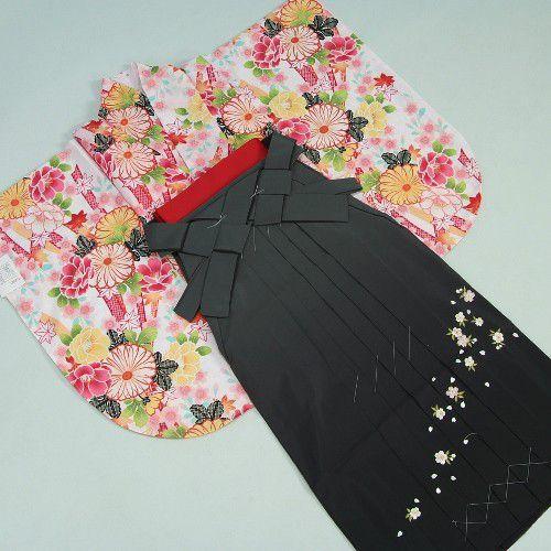 卒業袴着物フルセット 卒業式 白地 桜刺繍濃淡ボカシ袴 レンタルよりお値打ちな13点セット