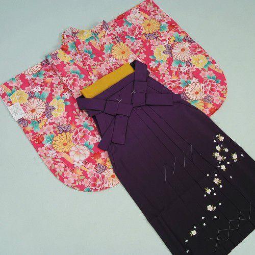 卒業袴着物フルセット 卒業式 濃ピンク 桜刺繍濃淡ボカシ袴 レンタルよりお値打ちな13点セット