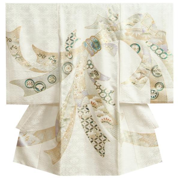 お宮参り 着物 男 正絹初着 男の子用産着 白 黒市松紋 兜 刺繍使い 桜地紋生地