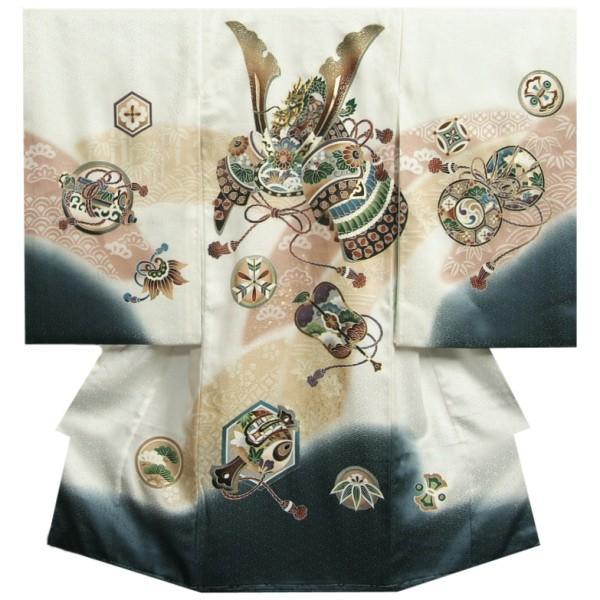 お宮参り 着物 男の子 赤ちゃん 正絹男児初着 産着 白地金茶ぼかし 裾濃グレー染め分け 兜 刺繍使い 吹雪地紋 日本製
