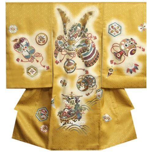 お宮参り 着物 男 正絹初着 男の子用産着 金茶ぼかし 兜 宝船 金糸刺繍使い サヤ地紋 日本製