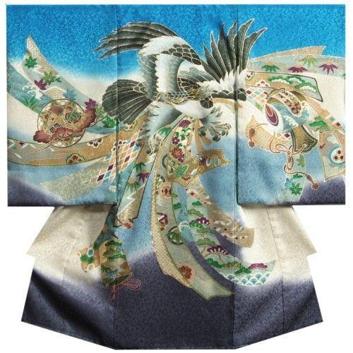 お宮参り 着物 男 正絹初着 男の子用産着 青濃紫グラデーション色 鷹 金糸刺繍使い まだら地紋 日本製
