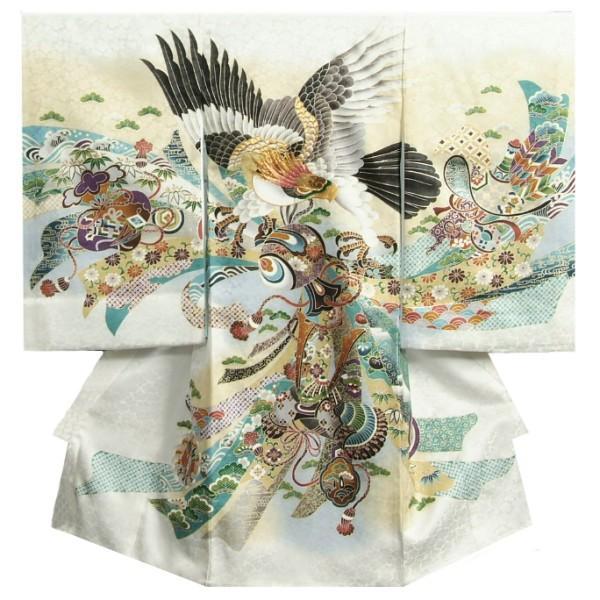 お宮参り 着物 男 正絹男児初着 白 ボカシ染め分け 冠鷲 熨斗 金糸刺繍使い 桜地紋
