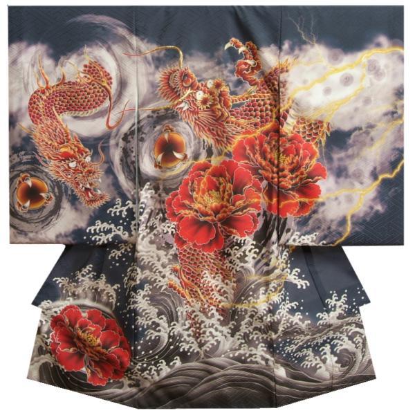 お宮参り 着物 男 正絹初着 赤紫色 鷹 騎馬武者 金糸刺繍使い 金彩 まだら地紋生地