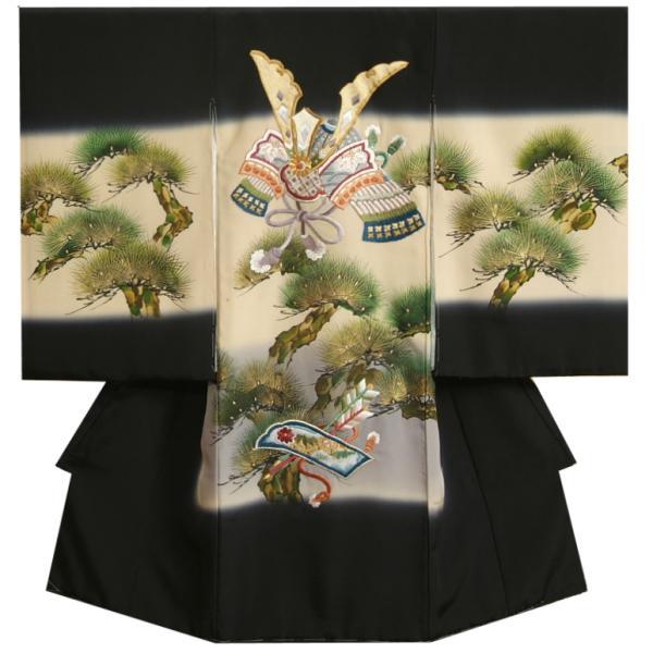 お宮参り 着物 男の子 正絹初着 黒 鷹 虎 富士山 刺繍使い まだら地紋生地 日本製