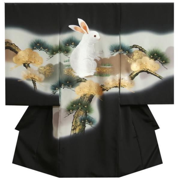 お宮参り 着物 男の子 正絹初着 黒地色 総刺繍白兎 金彩松葉 変わり無地精華生地 日本製