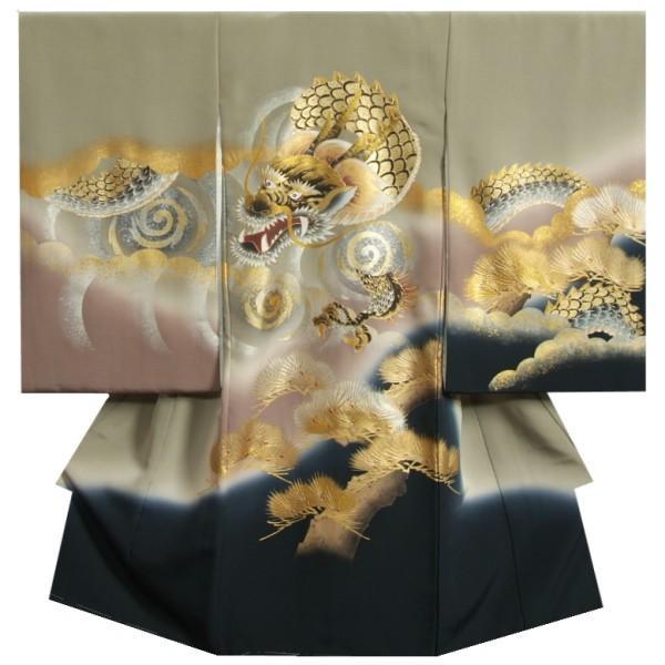 お宮参り 着物 男 赤ちゃん 正絹初着 モスグリーン色 渦文飛翔龍 金銀彩箔 金括り加工 精華生地 日本製
