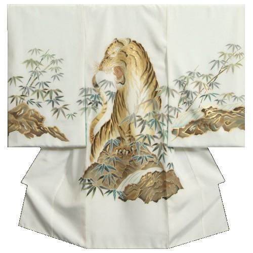 お宮参り着物 正絹男児初着 白地 虎 手描き 手染め 金糸刺繍 金彩使い 変わり無地生地 日本製