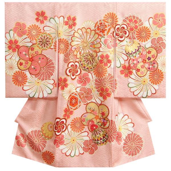お宮参り 着物 正絹女児初着 女の子 産着 桜ピンク色 鈴 松竹梅 四色ぼかし 金駒刺繍使い サヤ華地紋 日本製