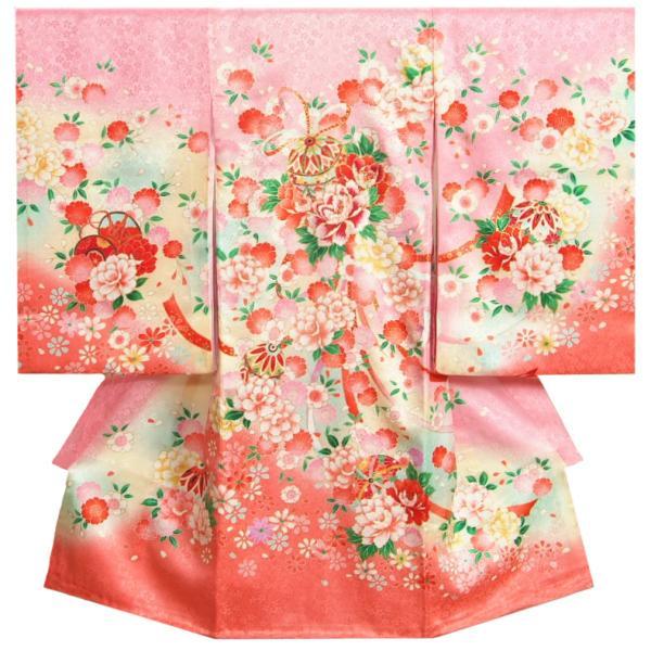 お宮参り 着物 女の子 正絹女児初着 産着 刺繍牡丹 地紋 華尽し 濃淡ピンク染め分け