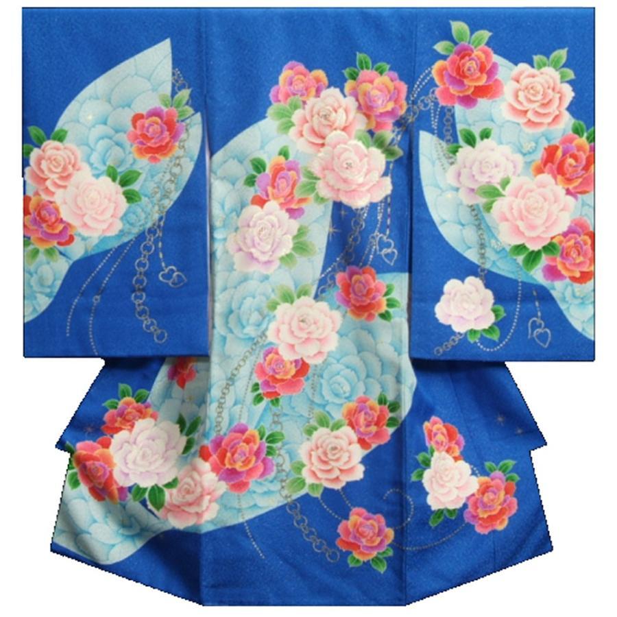 お宮参り 着物 女の子 正絹女児初着 女の子用産着 青 レインボーローズ 刺繍使い ジルコニア 金通し生地