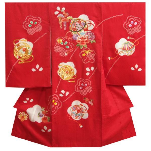 お宮参り 着物 女の子 正絹 女児初着 赤色 刺繍まり 本梅手絞り サヤ桜珠地紋生地 日本製