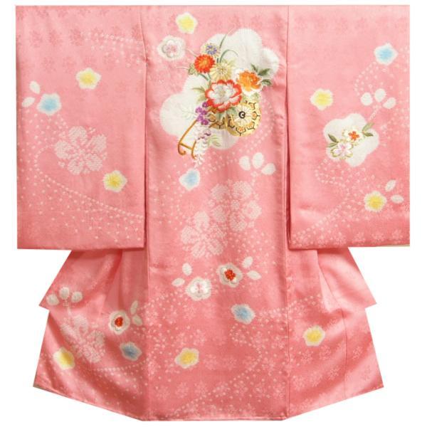お宮参り 着物 女の子 赤ちゃん 正絹初着 ピンク 柄総刺繍使い 鈴 華珠 本手梅絞り 本絞り流れ サヤ地紋 日本製