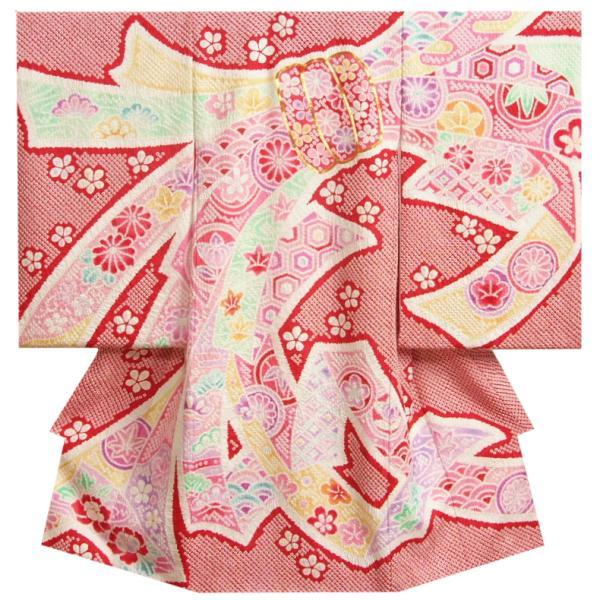 お宮参り 着物 女の子 正絹初着 朱赤 本手絞り うさぎ 華輪刺繍使い 日本製