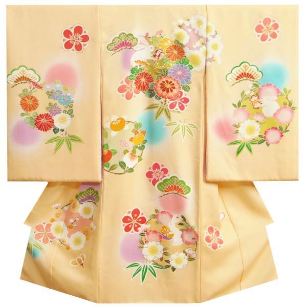 お宮参り 着物 女の子 正絹初着 ピンク白絞り染め分け 総刺繍鶴 絞り富士 サヤ華地紋 日本製