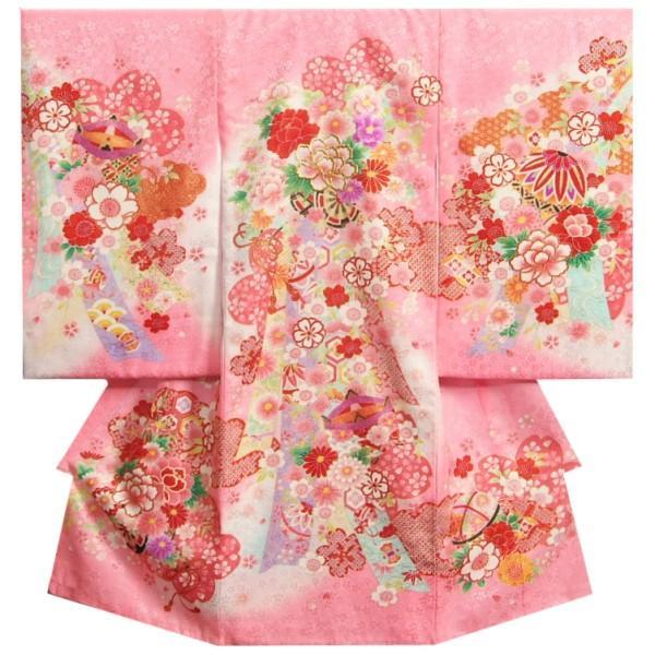 お宮参り着物 女の子 正絹女児初着 ピンク白色ぼかし 華車 金糸刺繍使い 牡丹 桜 地紋生地