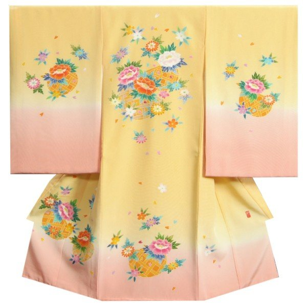 お宮参り着物 正絹女児初着 本加賀友禅 浜ちりめん生地 黄色ピンク染め分け 手染め 手描き 裏地や長襦袢もすべて正絹仕立て 日本製