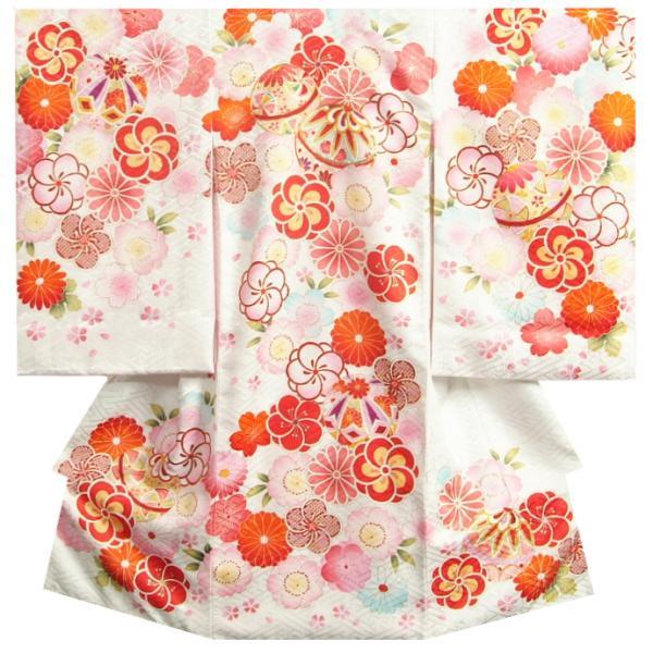 お宮参り 着物 女の子 赤ちゃん 正絹初着 白 捻り梅 四季桜 まり 金駒刺繍 サヤ地紋 日本製