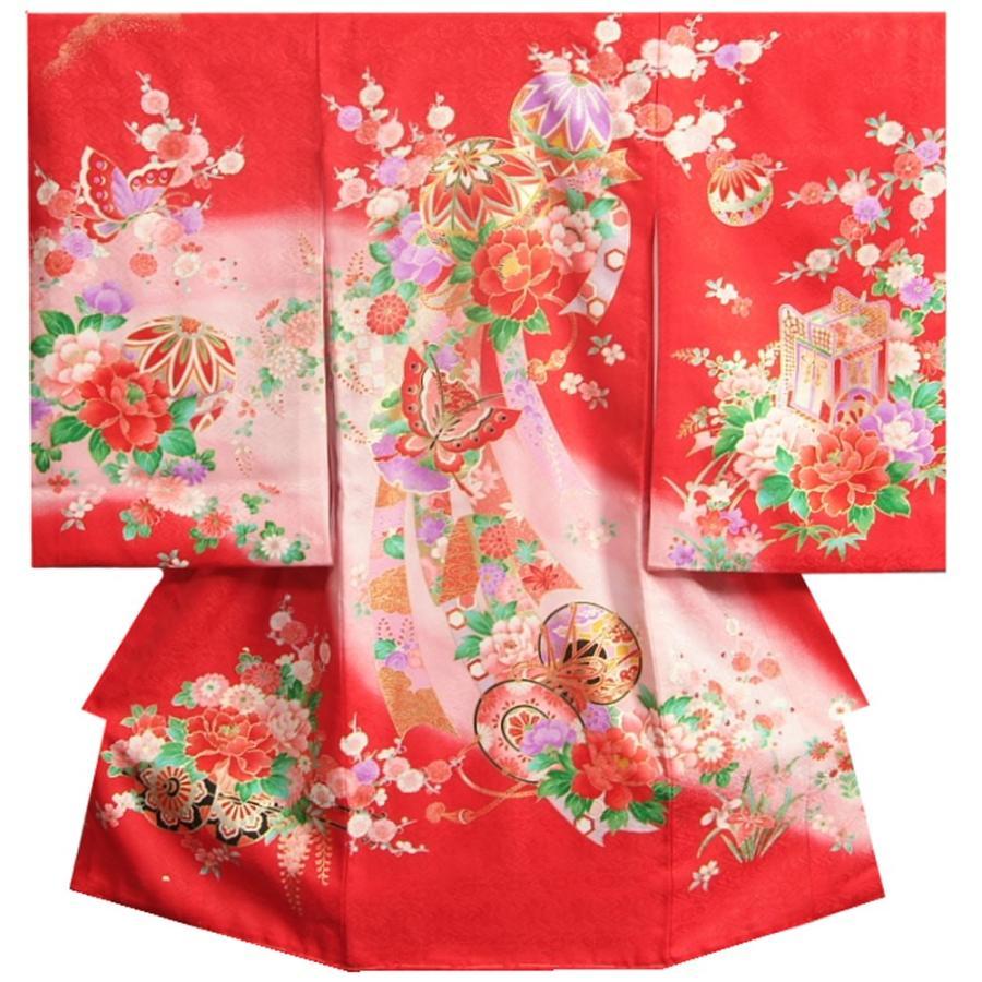 お宮参り 着物 女の子 正絹初着 女の子用産着 赤 まり 桜 芍薬 牡丹