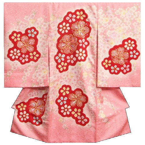 お宮参り 着物 女の子 正絹初着 ピンク 赤本手桶絞り 金コマ刺繍 金彩使い サヤ地紋生地 日本製