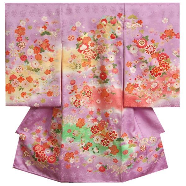 お宮参り 着物 女の子 正絹初着 ラベンダーパープル まり 桜牡丹 金彩 金コマ刺繍 桜地紋 日本製