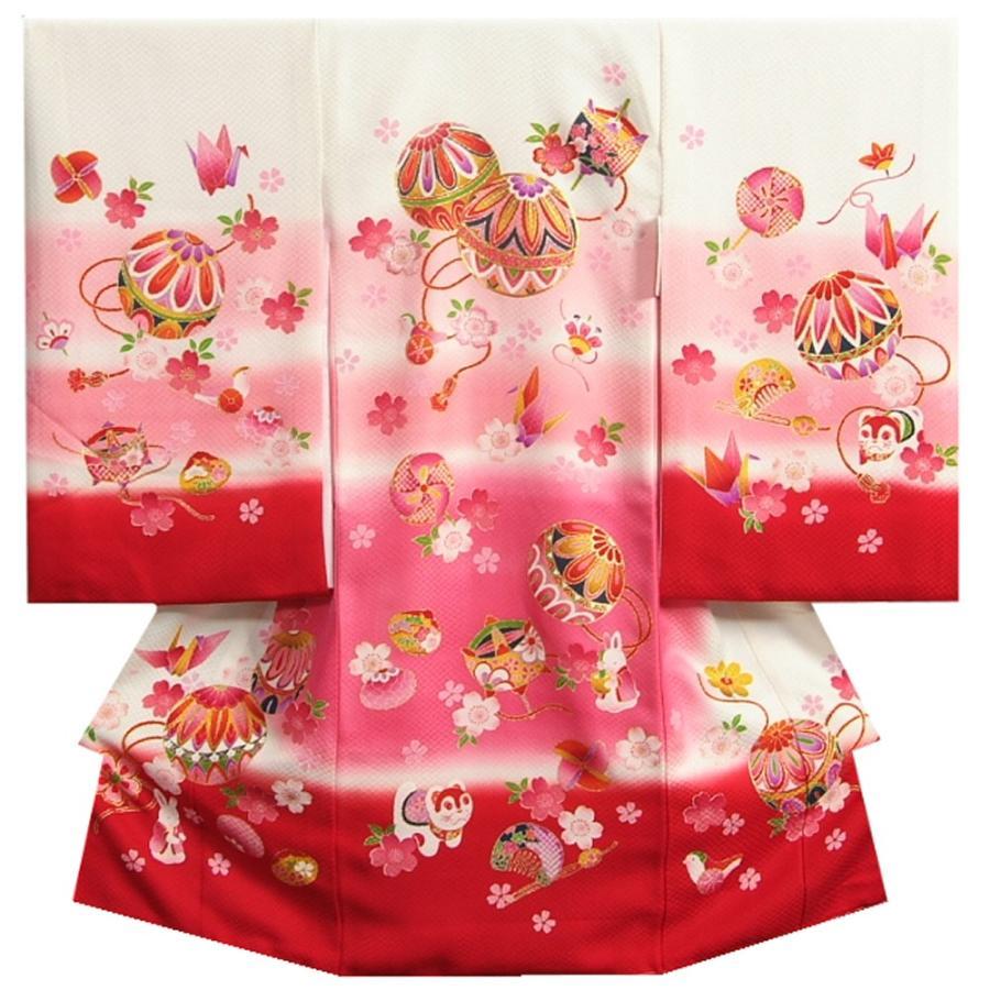 お宮参り 着物 女の子 正絹初着 女の子産着 白 ピンク濃淡ぼかし裾赤染分け まり 金駒刺繍 金彩 紋意匠生地 日本製