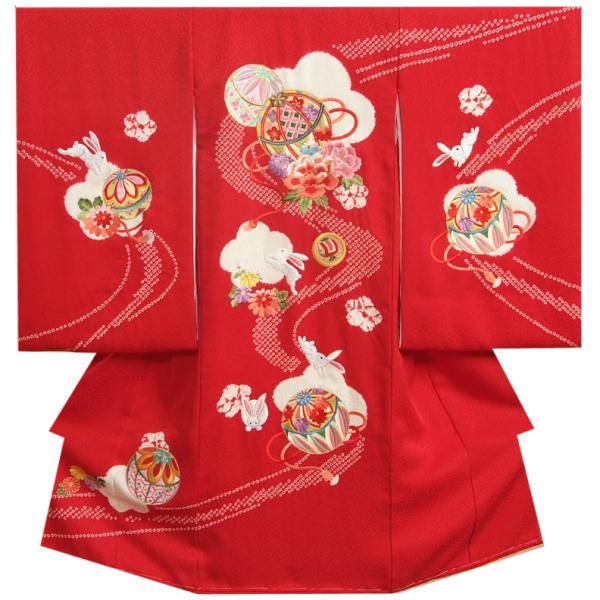お宮参り 着物 女の子 正絹初着 赤色 ピンク水色流水ぼかし 牡丹 うさぎ 金糸刺繍 桜地紋生地