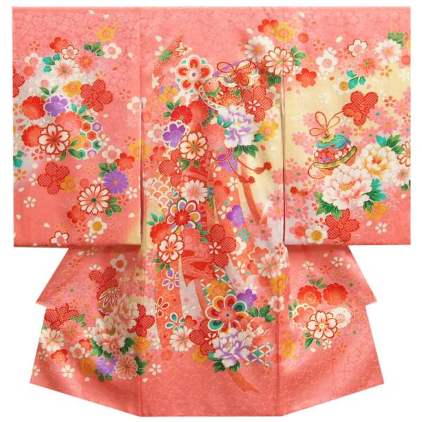 お宮参り 着物 女の子 正絹女児初着 ピンク 熨斗 桜 鈴 金駒刺繍使い 桜地紋