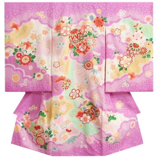 お宮参り 着物 女の子 正絹初着 濃紫 まり 絞り桜 金駒刺繍 サヤ地紋生地 日本製