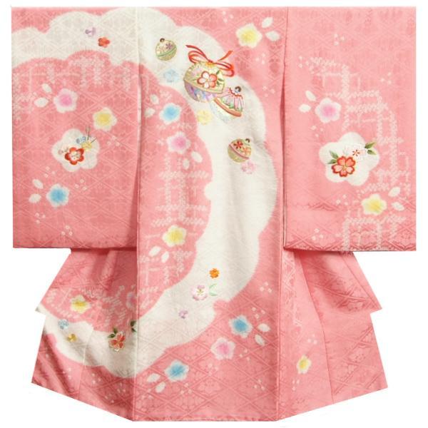 お宮参り 着物 女の子 赤ちゃん 正絹初着 ピンク 白 重ね雪輪本絞り 総刺繍金彩箔 菊桐菱地紋生地 日本製