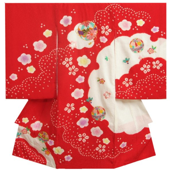 お宮参り 着物 女の子 赤ちゃん 正絹女児初着 女の子用産着 赤 雪輪染め 本絞り 刺繍使い鈴桜 まだら地紋 金彩使い 日本製