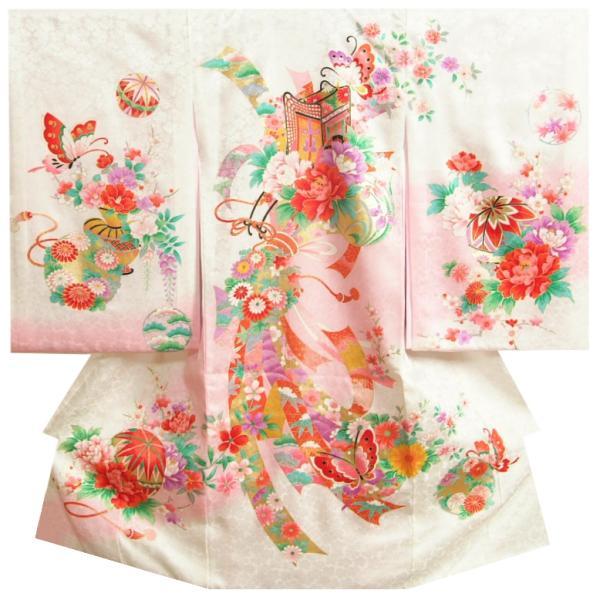 お宮参り 着物 女の子 赤ちゃん 正絹初着 白地 山桜 牡丹 金駒刺繍 桜地紋生地 日本製