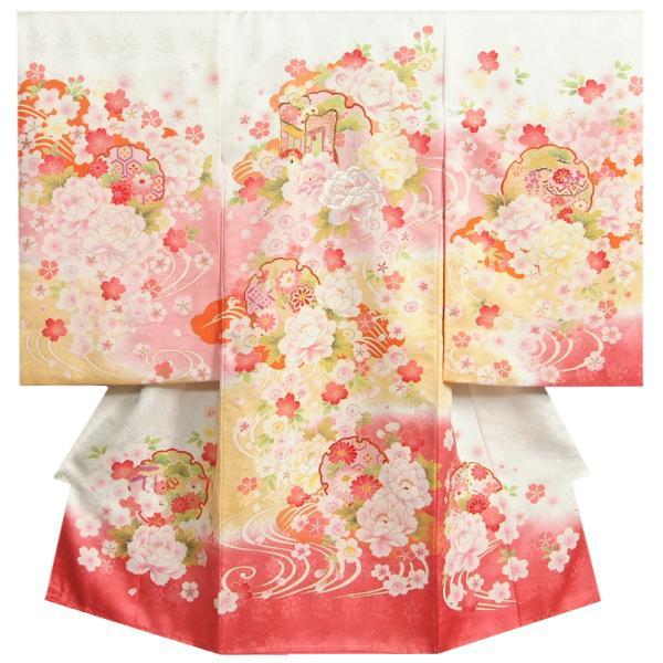 お宮参り 着物 正絹 女児初着 白地ピンク黄色二色染分け 重ね毬 刺繍使い牡丹 金駒刺繍 サヤ地紋 日本製