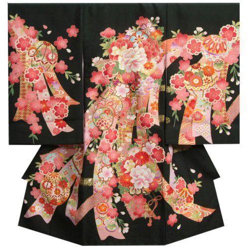お宮参り 着物 女の子 正絹初着 黒 流れ熨斗 桜 牡丹 刺繍使い 華地紋生地