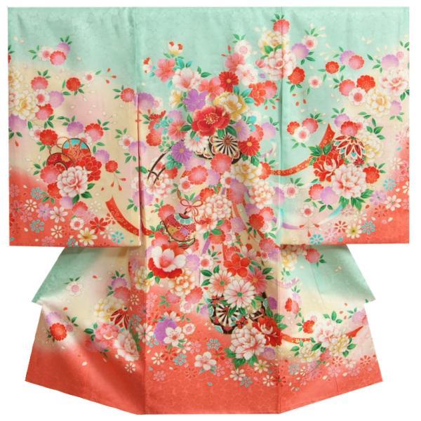 お宮参り 着物 女の子 正絹初着 青緑色 七宝桜 牡丹 金駒刺繍 小桜地紋 日本製