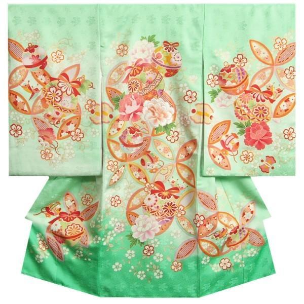 お宮参り 着物 女の子 正絹女児初着 濃淡黄緑色染め分け 刺繍牡丹 金駒刺繍 三枡地紋 日本製