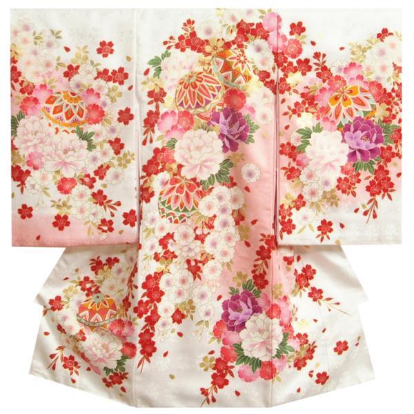 お宮参り 着物 女の子 正絹初着 白地裾ピンク染め分け 束ね熨斗 金駒刺繍 金彩 サヤ地紋 日本製