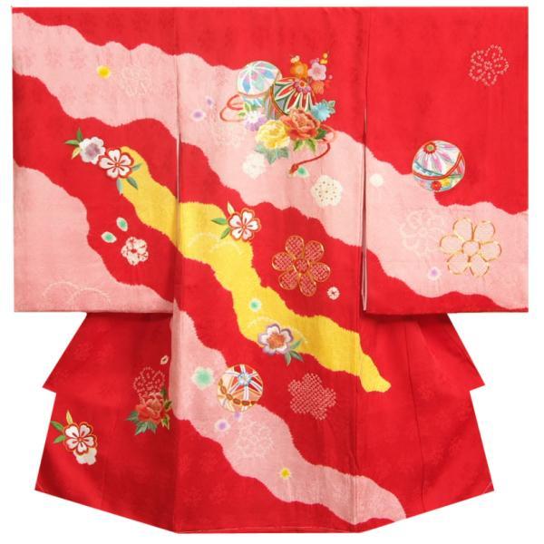 お宮参り 着物 女の子 正絹初着 赤地黄桃色本絞り流れ染め分け 金駒刺繍使い 紗綾本地紋生地 日本製