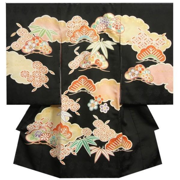 お宮参り着物 正絹女児初着 黒地 松竹梅 手描き 手染め 金コマ刺繍 サヤ型本地紋紋意匠生地 日本製
